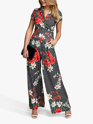 HotSquash Pinstripe Floral Jersey Wide Leg Jumpsuit, Black/Multi