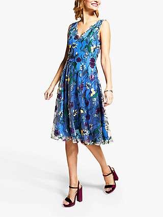 HotSquash Floral Embroidered V-Neck Skater Dress, Cobalt