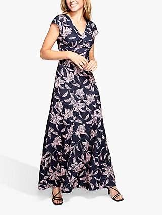 HotSquash Gemma Floral Print Maxi Jersey Dress, Purple