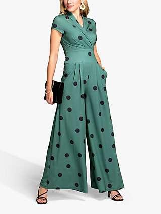 HotSquash Jersey Polka Dot Wide Leg Jumpsuit, Green