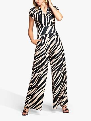 HotSquash Jersey Animal Print Wide Leg Jumpsuit, Beige/Black