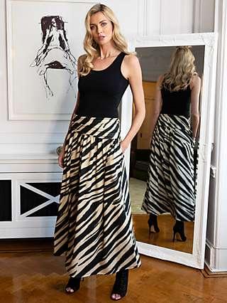 HotSquash Roll Top Animal Print Maxi Skirt, Beige/Black