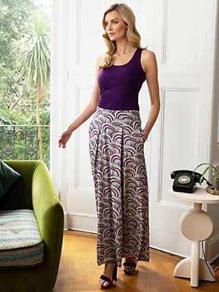 HotSquash Box Pleat Maxi Skirt, Purple Kimono Print