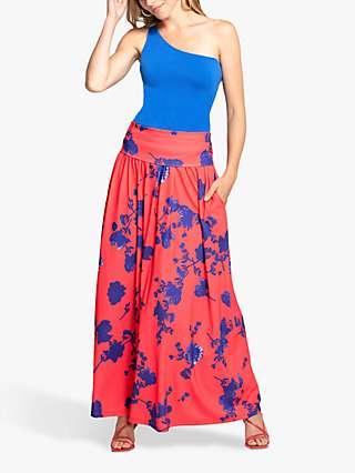 HotSquash Roll Top Floral Print Maxi Skirt, Red/Blue