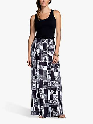 HotSquash Box Pleat Maxi Skirt, Striped Geo