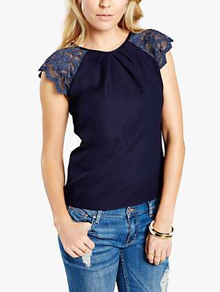 HotSquash Lace Sleeved Crepe Top