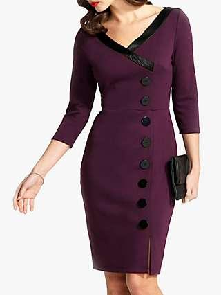 HotSquash 50s Silky Trimmed Button Wiggle Dress, Damson
