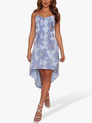 Chi Chi London Floral Jacquard Dress, Blue