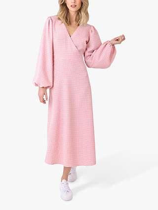 Ro&Zo Gingham Wrap Midi Dress, Pink/White