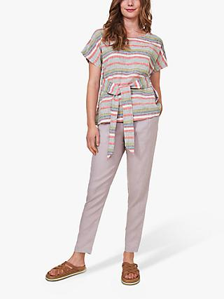 White Stuff Linen Striped Tie Front Top, Pink/Multi