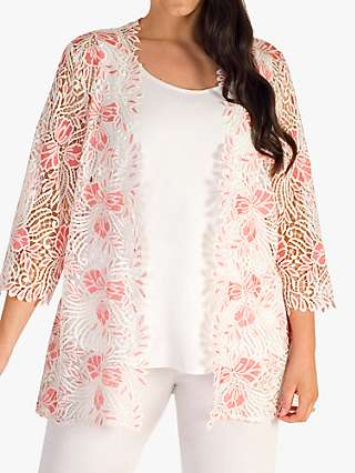 Chesca Gupiere Floral Lace Jacket, White/Coral