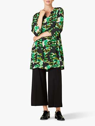 Masai Copenhagen Gravis Abstract Print Tunic Top, Green/Multi
