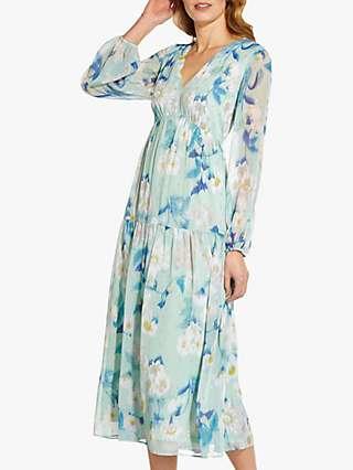 Adrianna Papell Floral Tiered Midi Dress, Mint