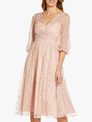 Adrianna Papell Glitter Tulle Midi Dress, Mellow Blush