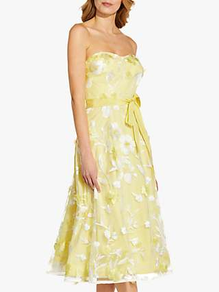 Adrianna Papell Floral Embroidered Strapless Tea Dress, Lemon Souffle