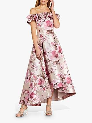 Adrianna Papell Floral Bardot Dip Hem Gown, Silver/Blush