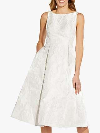 Adrianna Papell Floral Jacquard Midi Dress, Ivory
