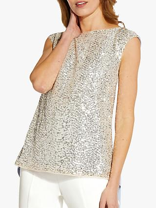 Adrianna Papell Asymmetric Sequin Top, Glacier