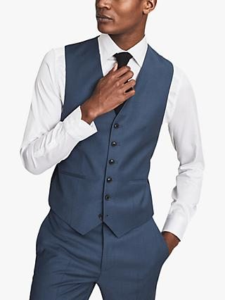 Reiss Extra Wool Slim Fit Waistcoat, Airforce Blue