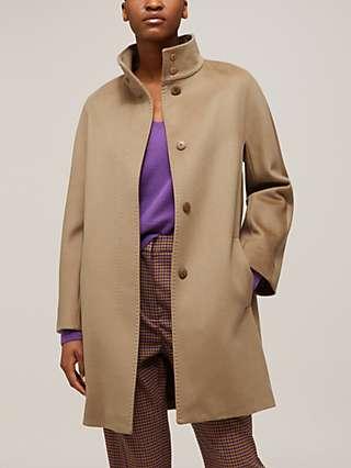 MaxMara Studio Colle Wool Funnel Neck Coat, Camel
