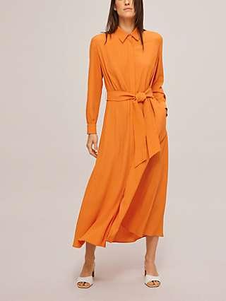 Weekend MaxMara Pulvino Silk Blend Midi Shirt Dress, Tangerine
