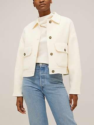 Weekend MaxMara Borbona Wool Short Coat, Ivory