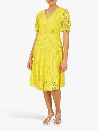 Yumi Lace Fit And Flare Tea Dress, Yellow