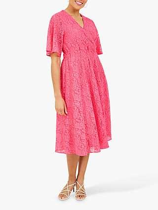 Yumi Lace Wrap Front Midi Dress, Pink