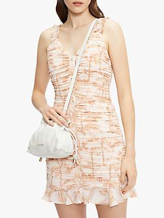 Ted Baker Palm Tree Print Ruched Mini Dress, Pink