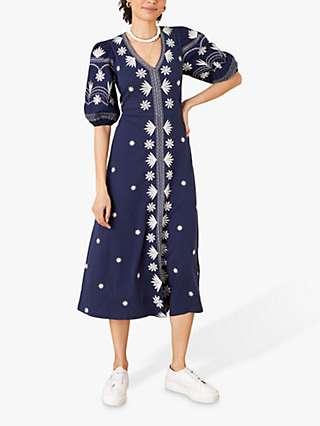 Monsoon Emma Floral Jersey Midi Dress, Navy