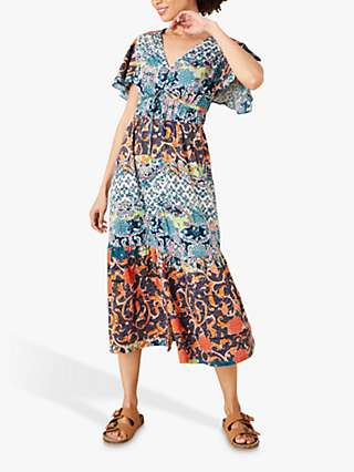 Monsoon Sufja Floral Print Midi Tea Dress, Navy/Multi
