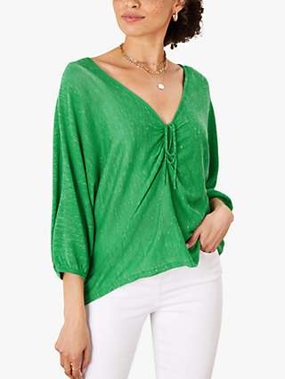 Monsoon Abstract Linen Ruched Top, Green