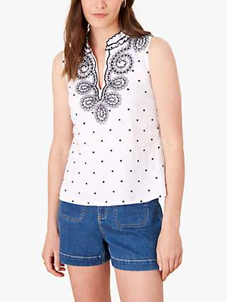 Monsoon Abstract Linen Embroidered Top, Ivory
