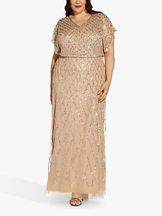 Adrianna Papell Plus Size Beaded Maxi Dress, Champagne/Silver