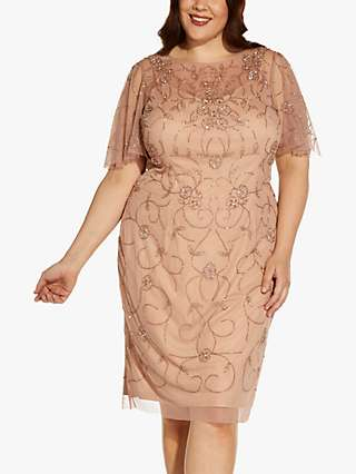 Adrianna Papell Plus Size Floral Embroidered Mesh Dress, Rose Gold