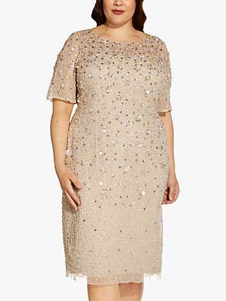 Adrianna Papell Plus Size Floral Sequin Cocktail Dress, Biscotti