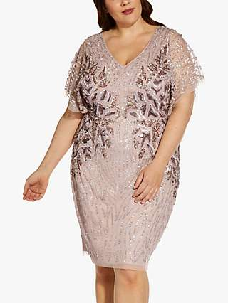 Adrianna Papell Plus Size Embellished Knee Length Dress, Cameo
