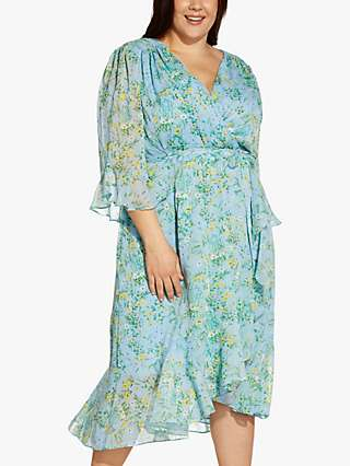 Adrianna Papell Plus Size Floral Wrap Dress, Blue