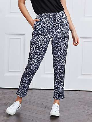 Sosandar Snow Leopard Print Trousers, Grey