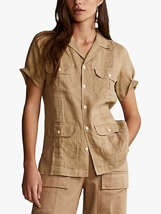 Polo Ralph Lauren Gnis Pintuck Linen Shirt, Burmese Tan