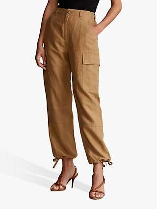 Polo Ralph Lauren Cle Silk Blend Cargo Trousers, Montana Khaki