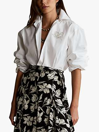 Polo Ralph Lauren Monogram Blouson Sleeve Shirt, White