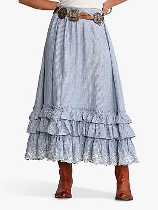 Polo Ralph Lauren Stripe Linen Maxi Skirt, Blue/White