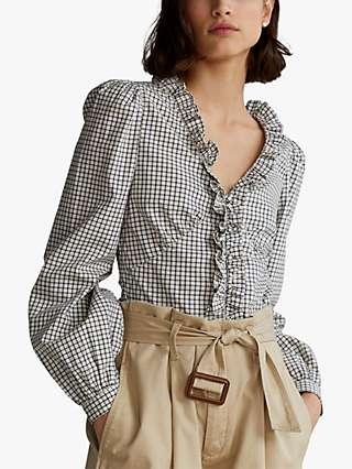 Polo Ralph Lauren Check Poplin Blouse, White/Multi