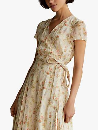 Polo Ralph Lauren Isbela Floral Crinkle Wrap Dress, Watercolour