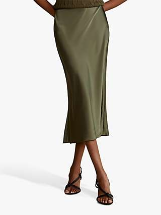 Polo Ralph Lauren Amla Satin Midi Skirt, Expedition Olive