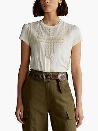 Polo Ralph Lauren Bib Front Short Sleeve Top, Antique Cream