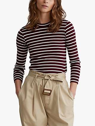 Polo Ralph Lauren Cotton Stripe Jersey Top, Monarch Red/Nevis