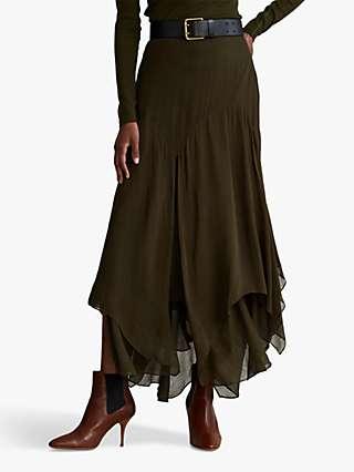 Polo Ralph Lauren Crinkled Handkerchief Midi Skirt, Dark Loden