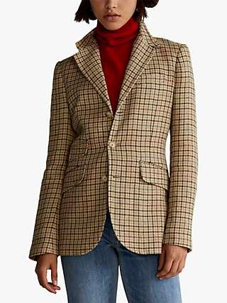 Polo Ralph Lauren Houndstooth Linen Silk Blend Blazer, Brown